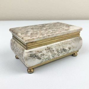 VTG MCM Footed Marble Jewelry Box Brass Lidded